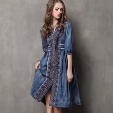 Ladys Dress Autumn Ethnic Style Embroidery Denim