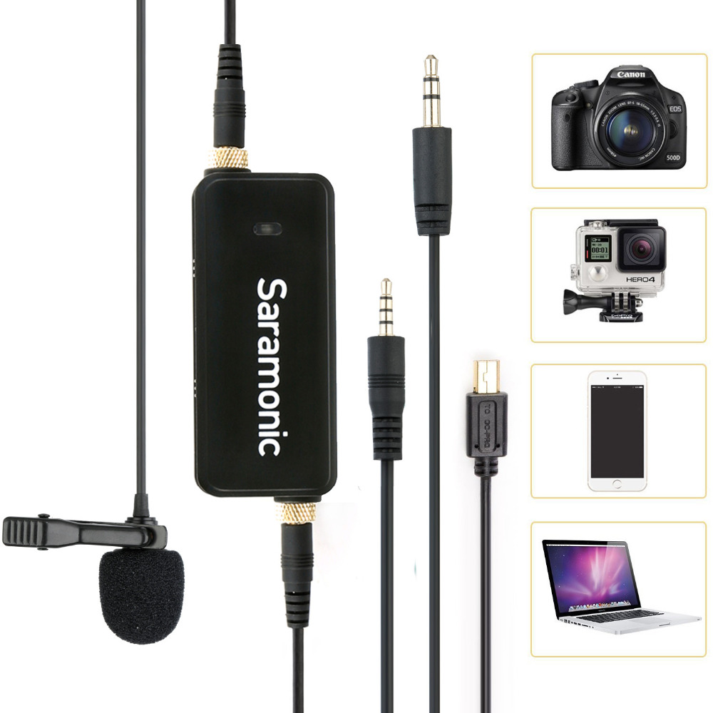 лучшая цена Saramonic LavMic Mono/Stereo 2-Channel Lavalier Microphone interview lapel mic for iphone Ipad,Ipod,Android,DSLR,Sony Canon