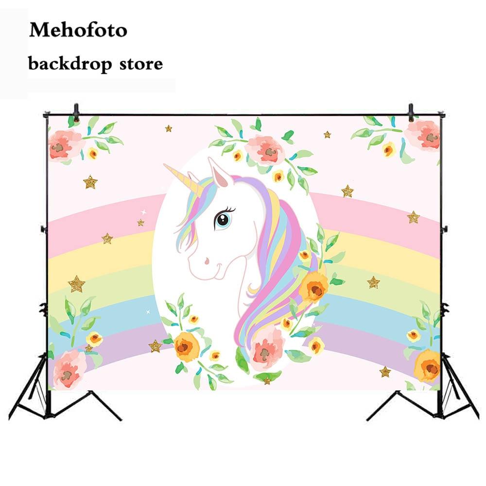 Mehofoto unicornio telones para fotografía recién nacido bebé ducha Foto fondo para Booth Estudio Arco Iris tela de vinilo 860