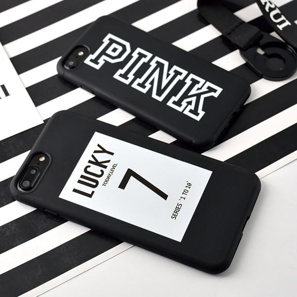 Pouzdro na telefon pro iPhone 6 7 Candy Black Pink Color soft TPU Rubber Silikon Pouzdro pro 7 6s Plus Zadní Kryt Lucky Toady