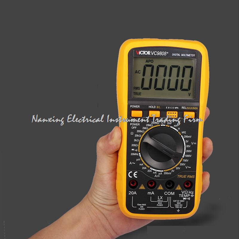 VICTOR Digital Multimeter VC9808 + 3/4 Auto Range Temperature Test Streamline Design & Large LCD Display uni t ut70b lcd digital multimeter auto range frequency conductance logic test transistor temperature analog display