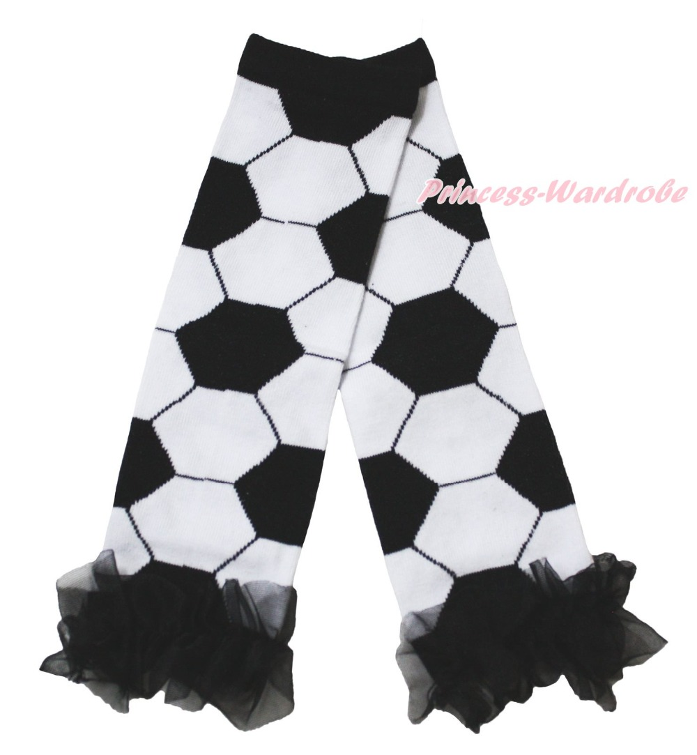 World Cup Black White Football Ball Sports Cotton Kids Baby Leg Warmer Legging