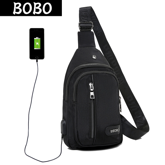 BOBO USB Charging Women Chest Bag Waterproof Nylon Ladies Single Shoulder Strap Back Bags Crossbody Bags Casual Travel Back Pack