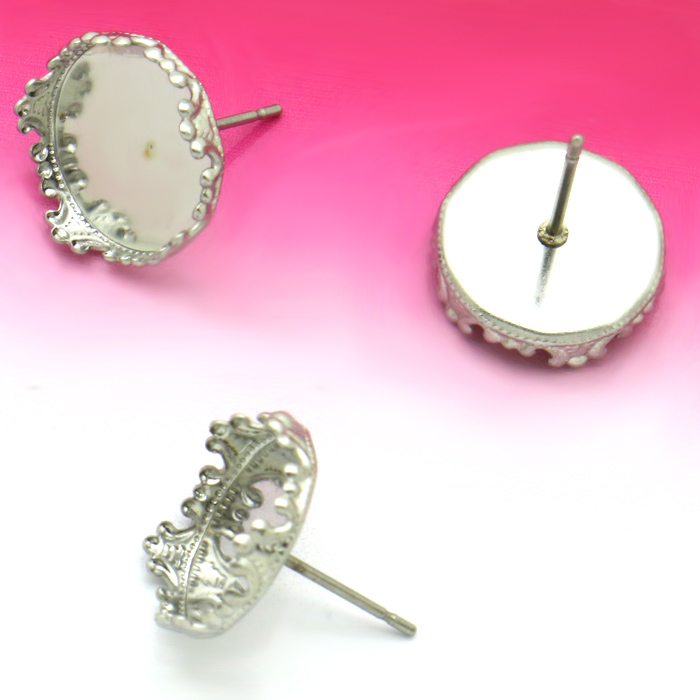 20Units Stainless steel Ear Stud with inner 12mm Crown Cabochon Cameo Setting Blank base, DIY Jewelry findings No Fade mibrow 10pcs lot stainless steel 8 10 12 14 16 18 20mm blank french lever earring tray cabochon setting cameo base jewelry