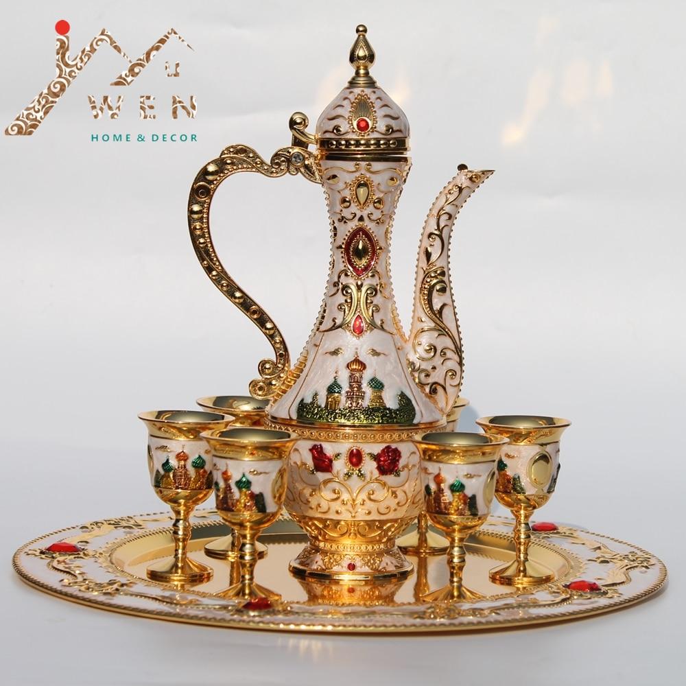 Kitchen Pot Sets Remodel Kansas City New Arrival Golden And White Coffee Set Wine Tea ...