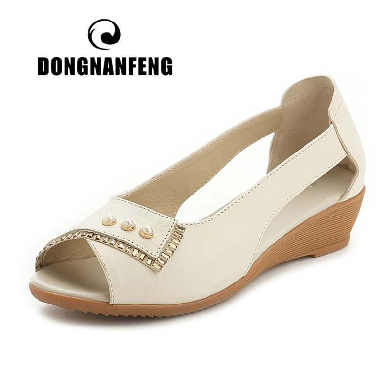 DONGNANFENG Women Casual Old Mother Ladies Female Cow Genuine Leather Shoes Sandals Summer Cool Beach Slip On 35 41 MLD 5008 in Low Heels from Shoes
