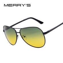 19150ff96817f1 MERRY S Mannen Polaroid Zonnebril Nachtzicht Rijden Zonnebril 100% Gepolariseerde  Zonnebril