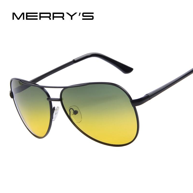 MERRY'S Männer Polaroid Sonnenbrillen Nachtsicht Fahren Sonnenbrille 100% Polarisierte Sonnenbrille