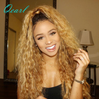 150% 180% Ombre Blonde Dark Roots Full Lace Human Hair Wigs Kinky Curly Pre Plucked Brazilian Remy Hair Lace Wig Qearl Hair