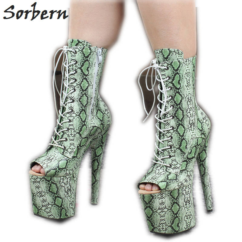Sorbern Snakeskin Custom Ankle Boots Extreme High Heels Platform Peep Toe Pole Dance Heels Exotic Dancer Shoes Goth PlatformSorbern Snakeskin Custom Ankle Boots Extreme High Heels Platform Peep Toe Pole Dance Heels Exotic Dancer Shoes Goth Platform