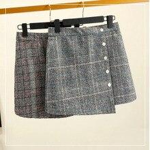 2019 New Plaid Woolen Skirt Irregular Package Hip High Waist Female Natural  A-Line