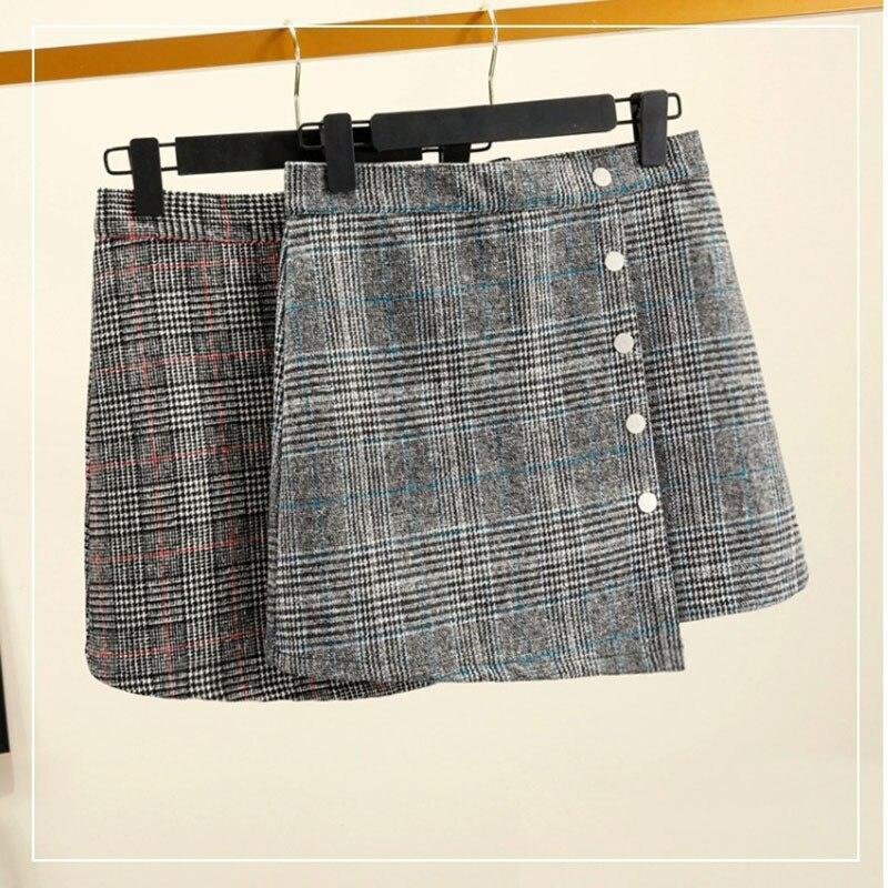 2019 New Plaid Woolen Skirt Plaid Irregular Package Hip High Waist Skirt Female Natural Plaid A Line