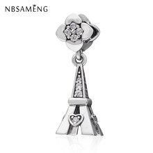 46eeade2dbf7 Nuevo 100% 925 cuentas de plata esterlina París Torre Eiffel encantos de  cristal con flor Fit Pandora pulseras Diy joyería Hacie.