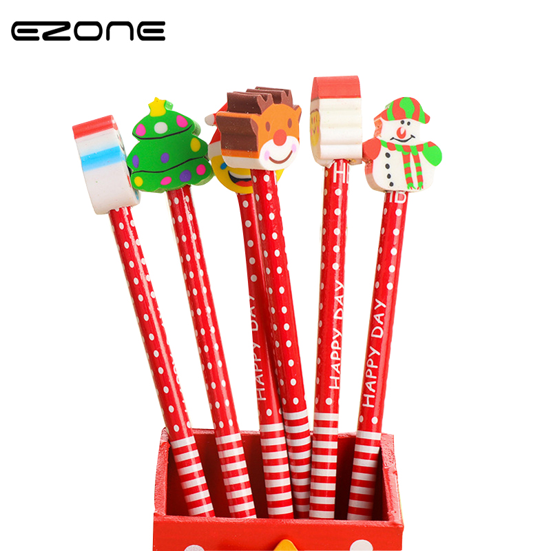 EZONE 6PCS/Set Korean Creative Wooden Christmas Cartoon Pencil Student Writing Standard Pencil Office Stationery Christmas Gift 7 colors to choose carb standard high quality wooden bookstand 4 slots environmental bookend creative student office stationery