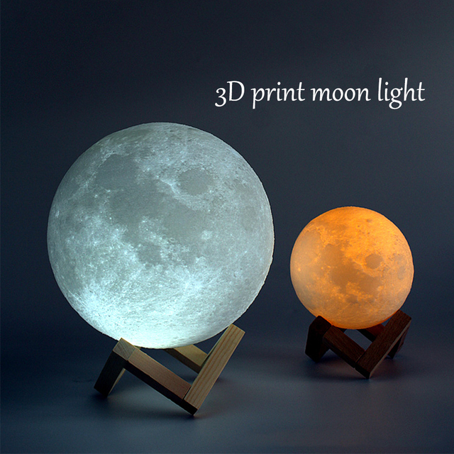 Rechargeable 3D Print Moon Lamp 2 Color Change Touch Switch Bedroom Bookcase Night Light Home Decor Creative Gift USB Charging