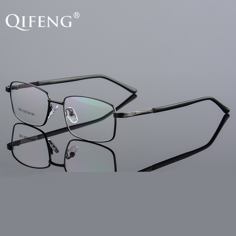 QIFENG Spectacle Frame Eyeglasses Men Computer Optical Prescription Male Transparent Clear Lens Glasses Eyewear QF252