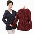 Китайский Женщина Случайные Куртка С Капюшоном Синий Красный Пальто Среднего Возраста женская Небольшой Горошек Бантом Куртки Мать Хлопка Пальто Плюс размер