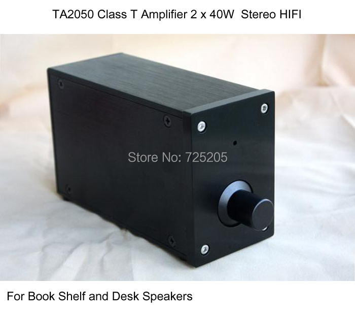 TK2050 Class T Amplifier Digital Stereo 2 x 40W HIFI Audio for Book Shelf and Desk Speakers Whole Aluminum Casing Black