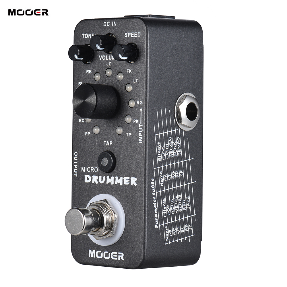 MOOER MICRO DRUMMER Digital Drum Machine Guitar Effect Pedal With Tap Tempo Function True Bypass Full
