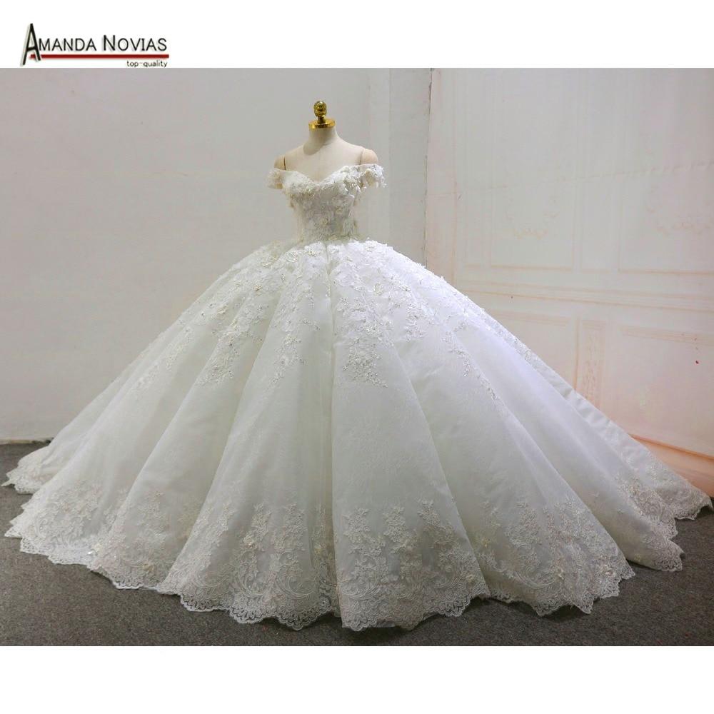 Online Shop vestido de noiva praia Off Shoulder Lace Appliqued ...