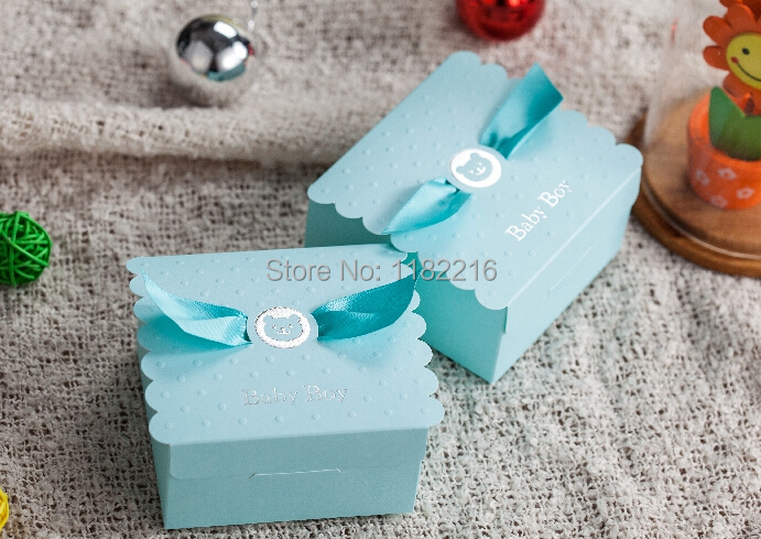 30 Pcs New Creative Baby Boy First Birthday Party Favor Sky Blue Candy Box Shower Born Birth Announcement Gift Boxes In Bags Wrapping