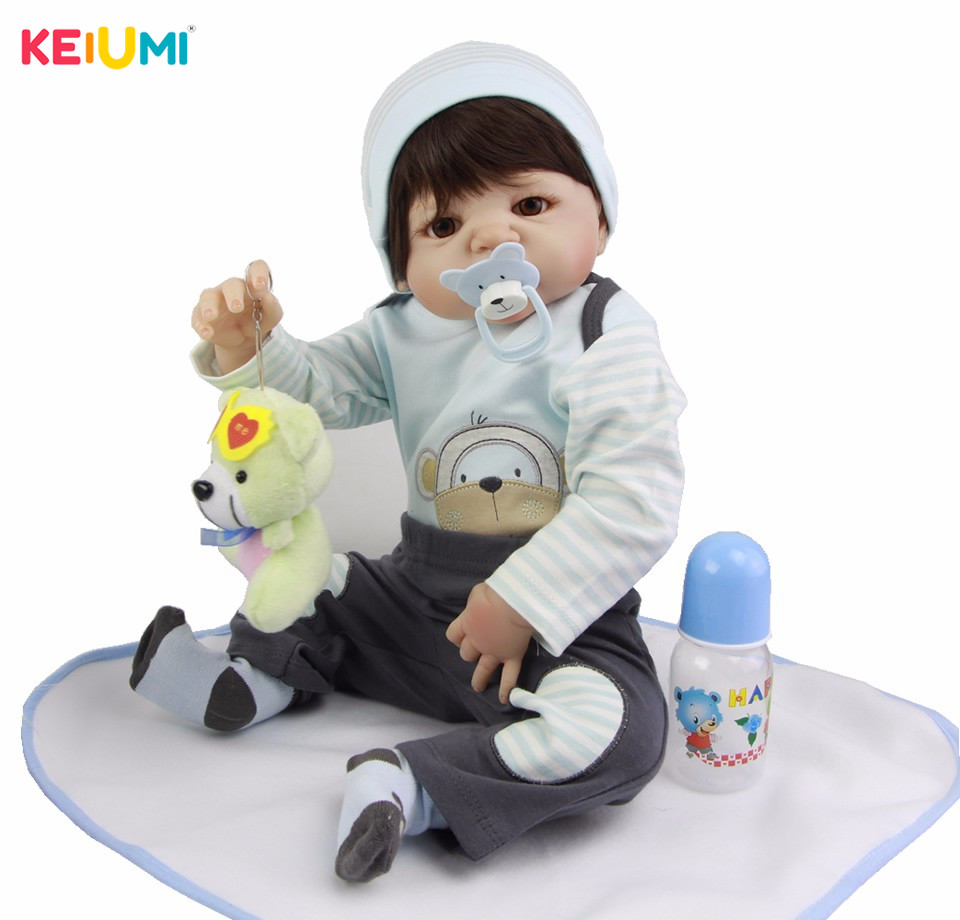 Lifelike Silicone Reborn Dolls 23 Full Vinyl Baby Boy Model Real Like Newborn Dolls Fashion Baby