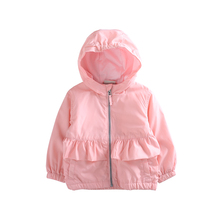 2017 Autumn New Brands Ruffles Baby Girls Hooded Solid Outerwear Kids Zipper Wasterproof Windbreak Coats Princess Girls Jackets