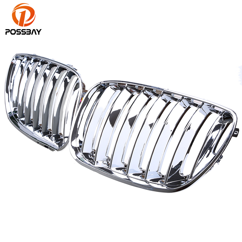 POSSBAY Racing Grilles 1 Pair Front Center Wide Kidney Hood Grilles Chrome Silver Car Decor For BMW X5 E53 2003-2007 FaceliftPOSSBAY Racing Grilles 1 Pair Front Center Wide Kidney Hood Grilles Chrome Silver Car Decor For BMW X5 E53 2003-2007 Facelift