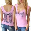 2016 Novo Tanque de Moda Tops t-shirt Das Mulheres Impressão Vestido da menina de Verão Sem Mangas T camisa Casual Roupas Femininas
