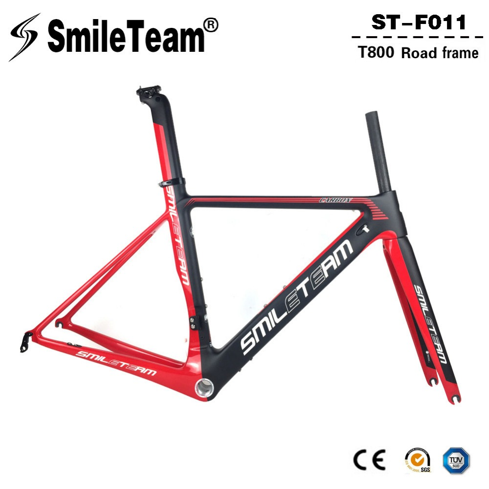 SmileTeam 2018 New BSA Carbon Road Bike Frameset T800 Carbon 700C Racing Bicycle Frame With Fork Seatpost 2 Year Warranty 2018 t800 full carbon road frame ud bb86 road frameset glossy di2 mechanical carbon frame fork seatpost xs s m l og evkin
