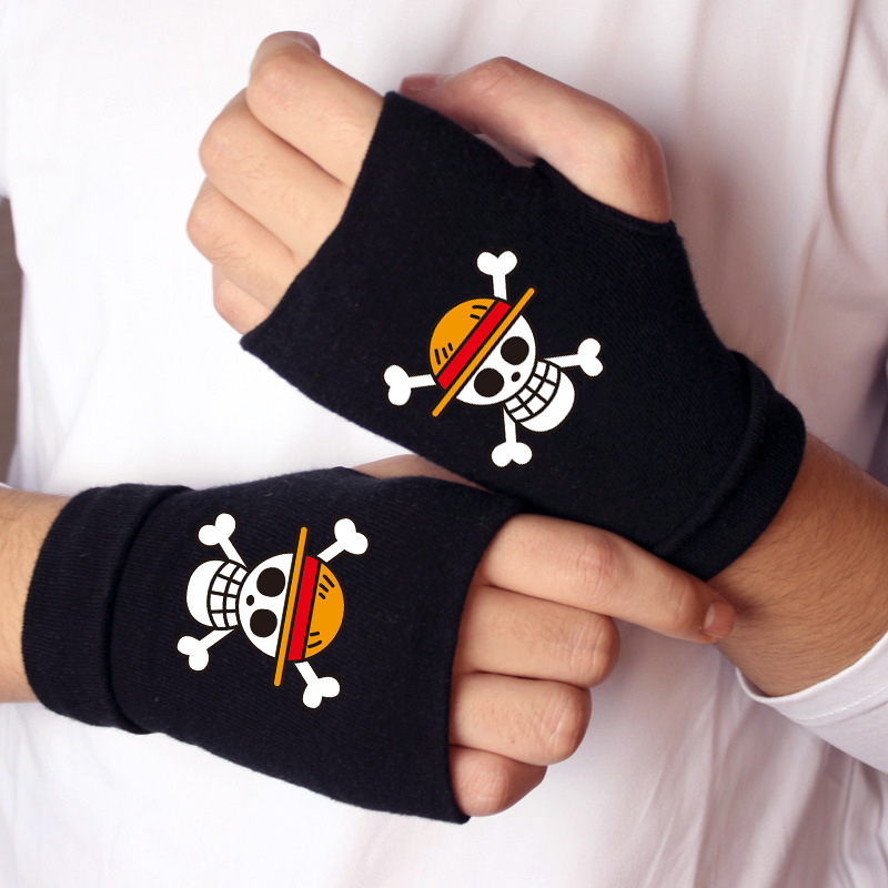 <font><b>ONE</b></font> <font><b>PIECE</b></font> Gloves Action <font><b>One</b></font> <font><b>Piece</b></font> Figure Cotton Glove <font><b>Luffy</b></font> Edward Newgate Half Finger Glove Keyboard Typing Gloves Toy for Gift image
