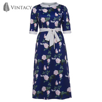 Vintacy Women Long Maxi Dress Print Floral Lace Up Pullover Expansion Plus Size 2018 Modern Fashion
