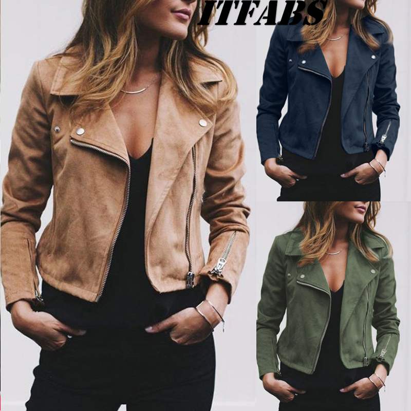 Coat women Ladies Suede Leather Jackets Zip Up Biker Female Casual Coats Woman Flight Coat 6