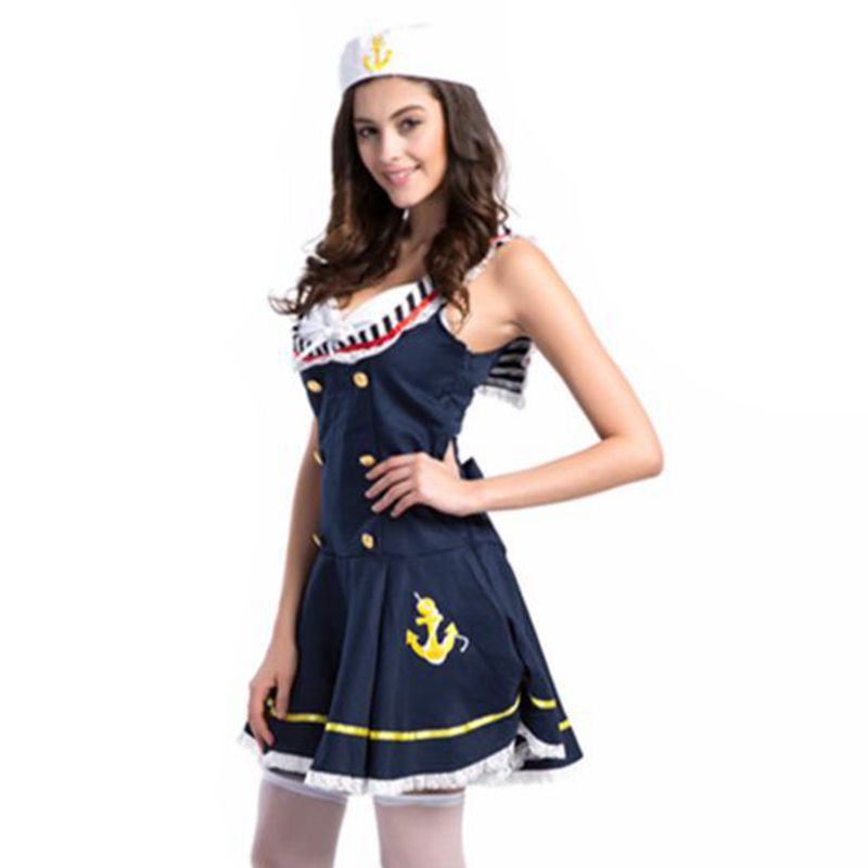 Womens Navy Sailor Halloween Costume Victorian Medieval Dresses