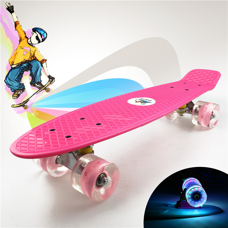 "Image 2 - Pastel Simple Color 22"" Style Skateboard Child Cruiser Mini Plastic Fish Skate Long Board With Shining Wheels-in Skate Board from Sports & Entertainment"