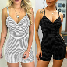 Fashion Women's Striped Jumpsuit Shorts Romper Tie Waist Playsuit Holiday Beach Sundress цена