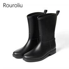 Rouroliu Women Non-Slip Rain Boots Waterproof Water Shoes Slip-on Woman Wellies Mid-Calf Dress Boots RT315 цена 2017