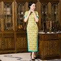 New Arrival Charming Sexy Long Qipao Vintage Chinese Tradition Women's Silk Long Cheongsam Dress Size S M L XL XXL