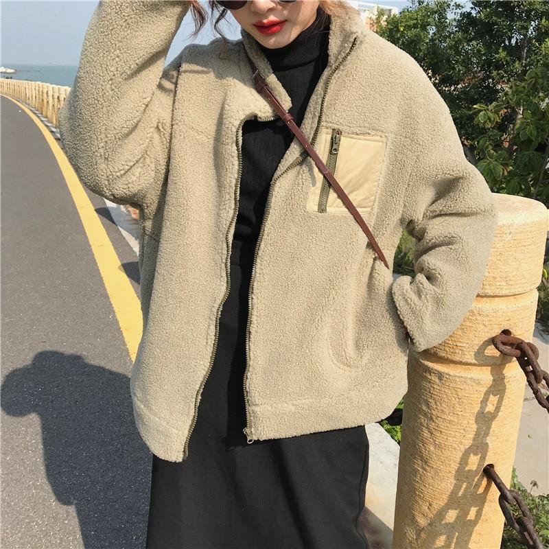 Para caqui Gruesa Otoño De Mezcla Sintética Lana E Azul az8996 Cálida Invierno Estilo Cordero 2018 Coreano Piel Mujer Suelta 2 Colores Abrigo Uwq14p