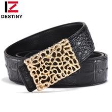 DESTINY Mens Belts Luxury Famous Brand Designer Male Genuine Leather Strap Waist Wide Belt Jeans Wedding Cowather Gold Silver