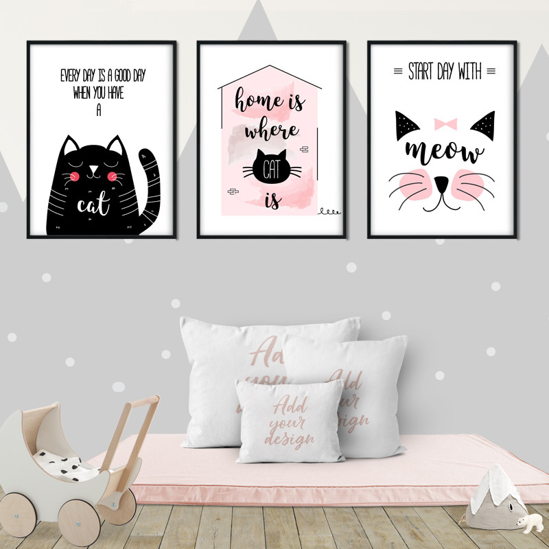 Lovely Cute Cat Animal Cartoon Canvas Prints Home Decor Painting Wall Art Nordic Simple Poster Modern Picture For Living Room