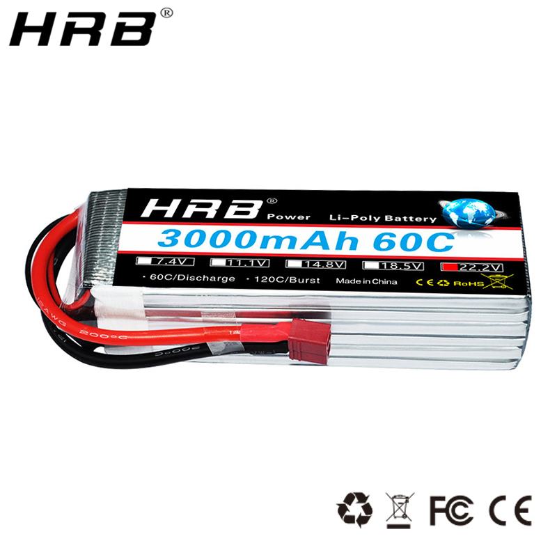 HRB Lipo Battery 6S 22.2V 3000mAh T Deans XT60 XT90 EC5 TRX 60C For Hexacopter Heli Airplanes Monster Cars Truck Boats RC Parts