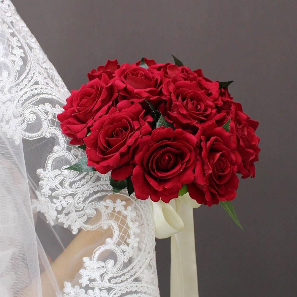 2019 Verkliga bilder Konstgjorda Röda Rose Bröllopbuketter Vackra - Bröllopstillbehör - Foto 2
