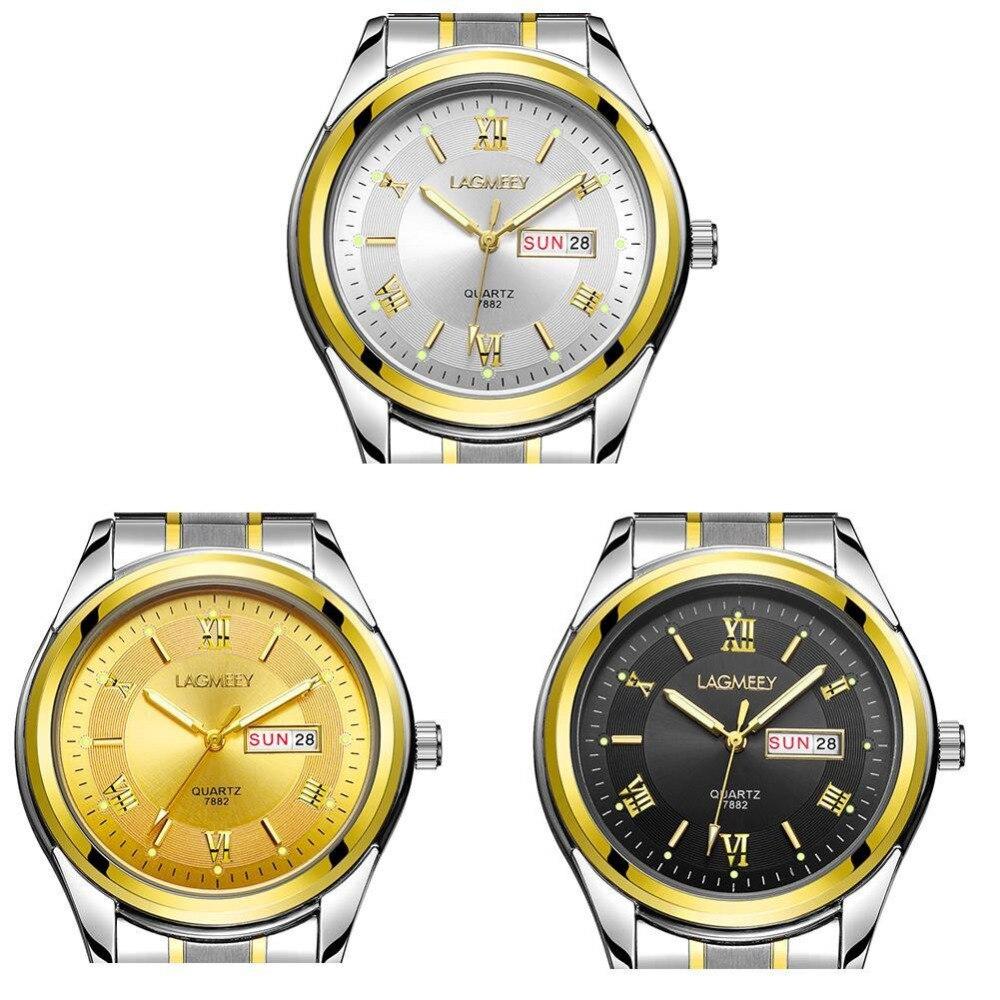 Hommes Montres Top Marque LAGMEEY Jour Date Lumineux Heures Horloge Mâle Argent En Acier Inoxydable Casual Quartz Montre Sport Montre-Bracelet