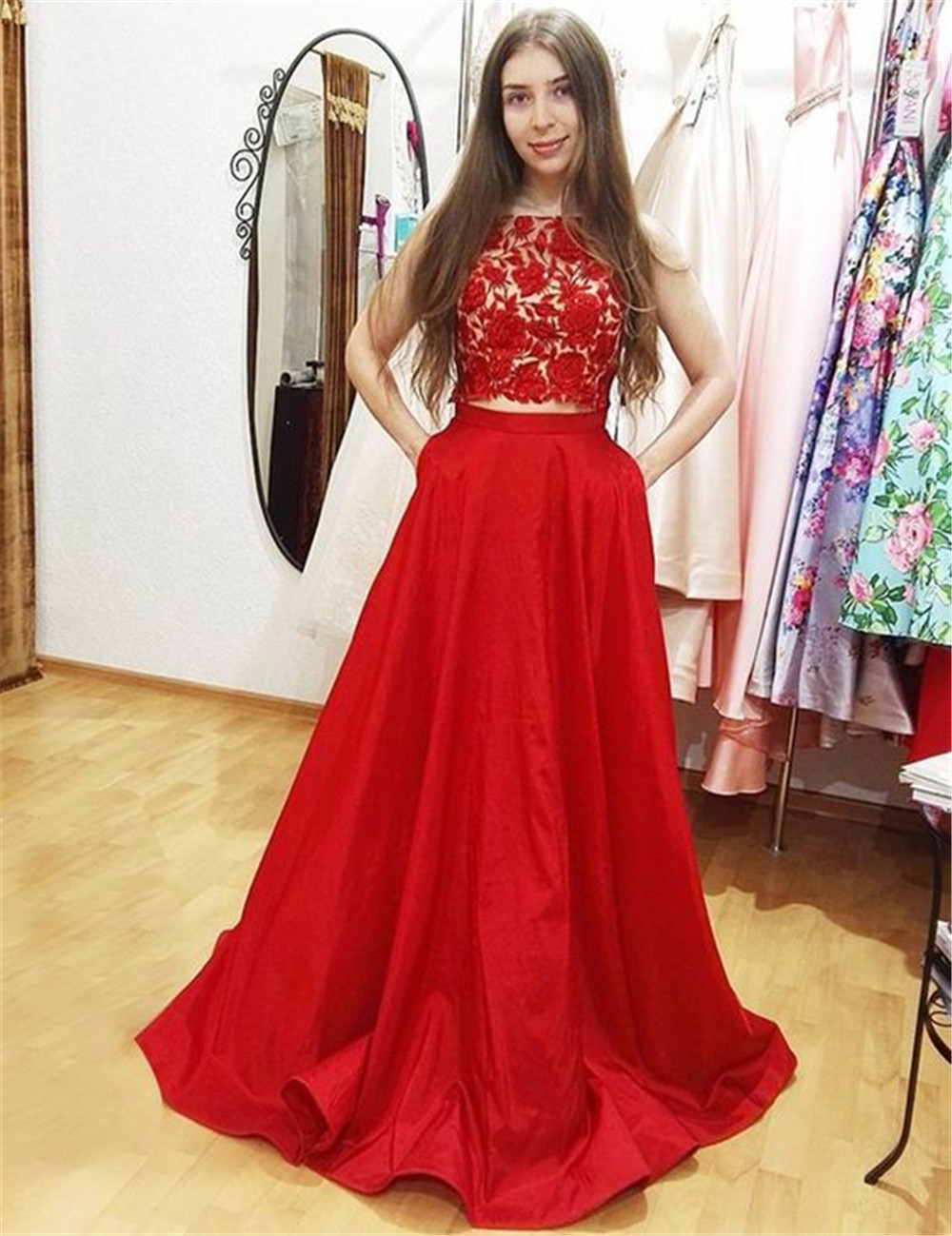 2 Piece   Prom     Dresses   Lace Elegant Long Formal Evening Gown Robe Cheap Top Satin Skirt With Pockets A Line