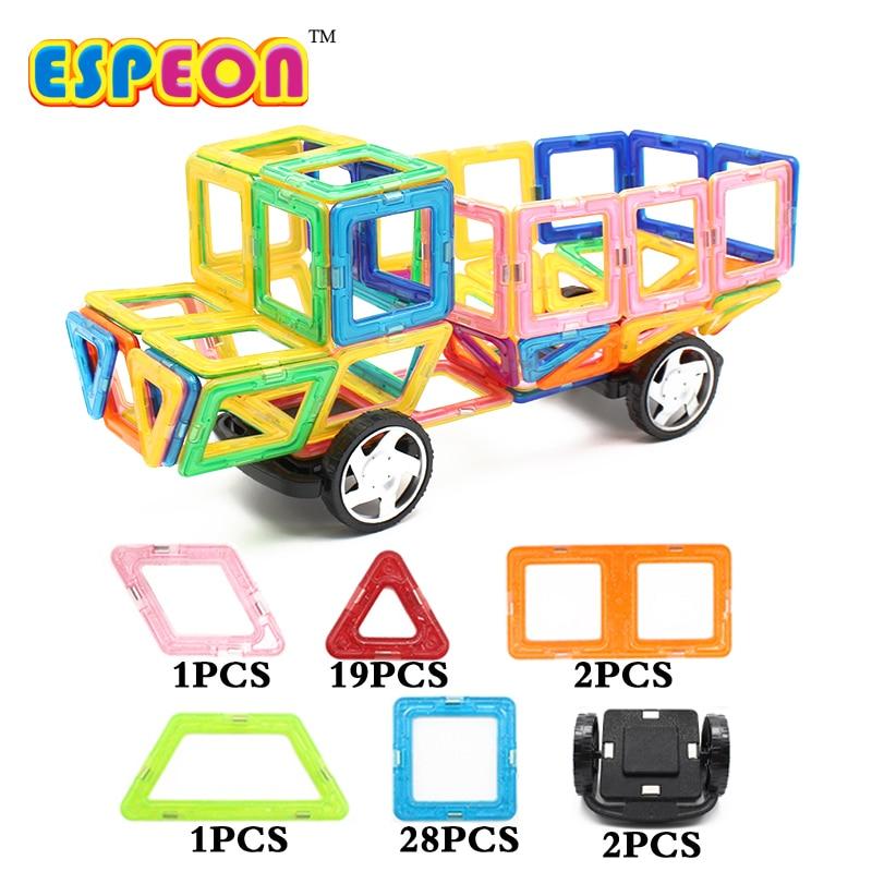53pcs Big Size Magnetic Construction Set Magnetic Designer for Children plastic Magnetic Blocks Educational Toys For Kids