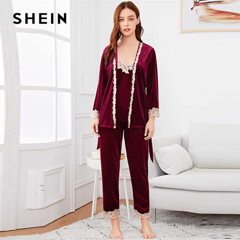 69f69954fd SHEIN Burgundy Contrast Lace Cami Belted Pajama Set With Robe Women Spring  Nightwear Tops With Long