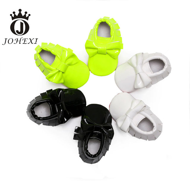 2017 Fashion Butterfly-knot Baby Firstwalker Shoe Girl/Boy Moccasin Shoe Toddler Super Soft Outdoor Black/White/Green 11-13 CM