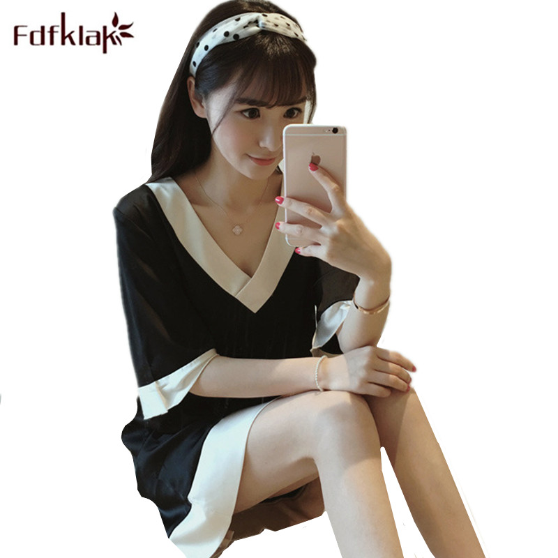 Fdfklak Silk Satin Sleepwear Women Short Sleeve Patchwork Color Sexy Night Dress Summer Nightgowns Casual Sleepwear Shirt