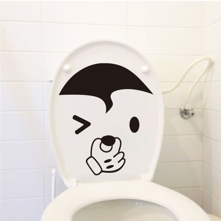 Lovely Mickey Face Cartoon Toilet Sticker Funny Diy Wall Decoration Sticker For Bathroom Toilet Office Home Hotel